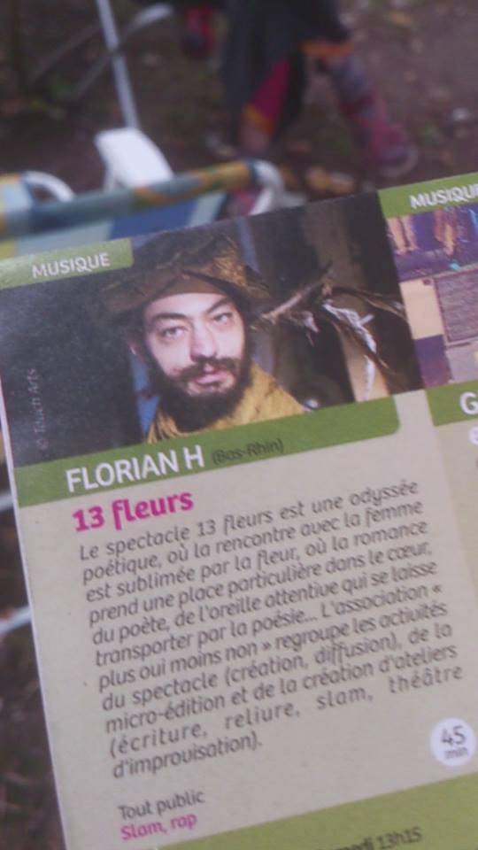 Publication dans un programme de spectacle - Portrait de Florian Hugnin - Aout 2014